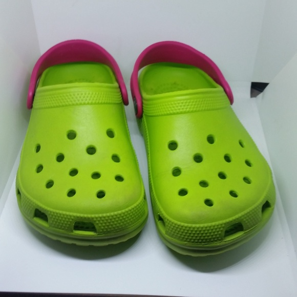 e375f047b7dc CROCS Shoes - EUC Light Green with Hot Pink Strap Crocs Sandals
